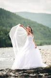 Piękna luksusowa młoda panna młoda stoi blisko rzeki z górami na tle w długiej białej ślubnej sukni i przesłona obrazy royalty free