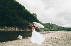 Piękna luksusowa młoda panna młoda stoi blisko rzeki z górami na tle w długiej białej ślubnej sukni i przesłona obrazy stock