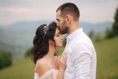 Piękna młoda ślub pary pozycja na zielonym skłonie, wzgórze Fornal i panna młoda w Karpackich górach M??czyzna buziak zdjęcia royalty free