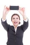 Piękna młoda biznesowa kobieta bierze selfie używać smartphone Obraz Royalty Free