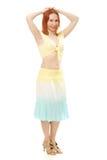 Piękna młoda brunetki brzucha tana kobieta Fotografia Stock