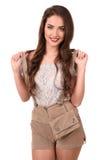 Piękna młoda brunetki dziewczyna oktoberfest stein obraz stock