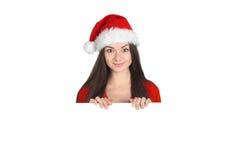 Piękna młoda brunetki kobieta jako Santa dziewczyna obrazy stock
