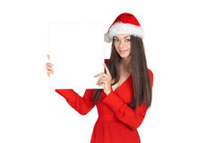 Piękna młoda brunetki kobieta jako Santa dziewczyna obrazy royalty free