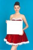 Piękna młoda brunetki kobieta jako Santa dziewczyna zdjęcie royalty free