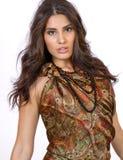 Piękna młoda brunetki kobieta w Paisley sukni Zdjęcie Stock