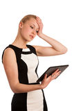 Piękna młoda caucasian biznesowa kobieta z blondynu działaniem Obrazy Stock