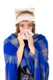 Piękna młoda chora dziewczyna z zimnem obraz royalty free