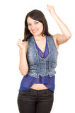 Piękna młoda dziewczyna jest ubranym błękitnej uprawy odgórny pozować Obrazy Stock
