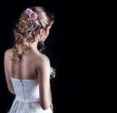 Piękna młoda dziewczyna w wizerunku panna młoda, piękna ślubna fryzura Obraz Stock