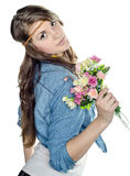 Piękna młoda dziewczyna z bukietem Zdjęcia Royalty Free
