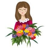 Piękna młoda dziewczyna z dużym bukietem kwiaty royalty ilustracja