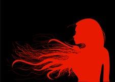 Piękna młoda dziewczyna z jej włosy w jaskrawej czerwieni na czarnym tle, ilustracji
