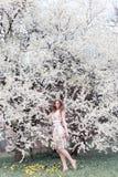 Piękna młoda dziewczyna z kędziorami w powietrze barwiącej sukni z wiankiem na jej kierowniczym odprowadzeniu w parku blisko czer Zdjęcia Stock
