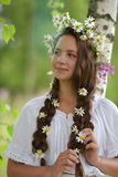 Piękna młoda dziewczyna z pleceniami i stokrotkami Obrazy Stock