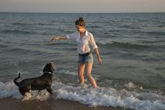 Piękna młoda kobieta bawić się z jej psem na plaży Fotografia Royalty Free