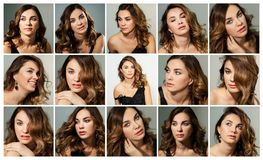 Piękna młoda kobieta, emocje, kolaż, set fotografia stock