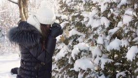 Piękna młoda kobieta fotografuje śnieżnego las w zimy odzieży i dziającym białym kapeluszu zbiory wideo