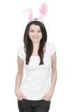 Piękna młoda kobieta jako Easter królik zdjęcia stock