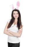 Piękna młoda kobieta jako Easter królik fotografia royalty free