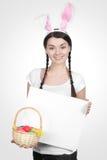 Piękna młoda kobieta jako Easter królik obraz royalty free