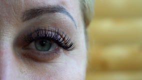 Piękna młoda kobieta jest ubranym subtelnego makeup mruga ona oczy, zamyka w górę widoku jej twarz zdjęcie wideo