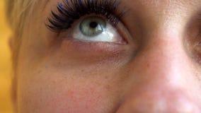 Piękna młoda kobieta jest ubranym subtelnego makeup mruga ona oczy, zamyka w górę widoku jej twarz zbiory wideo