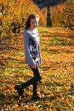Piękna młoda kobieta pozuje w jesieni polu słoneczny dzień Miedzianowłosy nastolatek fotografia royalty free