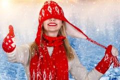Piękna młoda kobieta w kapeluszu, mitynce i szaliku pięknych trykotowych, chodzi w zimy forestFashionable trykotowym odziewa Weso Zdjęcie Royalty Free