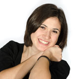 Piękna młoda kobieta w przypadkowych ubrań gestykulować Obrazy Stock