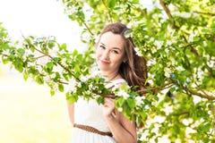 Piękna młoda kobieta w wiosna ogródzie wśród jabłczanego okwitnięcia, miękka ostrość Obraz Royalty Free