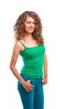 Piękna młoda kobieta w zielony odgórny odosobnionym Zdjęcia Royalty Free