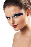 Piękna młoda kobieta z jaskrawym splendorem uzupełniał Obraz Royalty Free