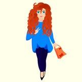 Piękna młoda kobieta z kędzierzawym włosy, rudzielec dziewczyna z torba na zakupy ilustracja wektor