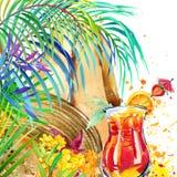Piękna młoda kobieta z owocowym koktajlem tropikalna plaża i tropikalni liście z egzotycznymi kwiatami beak dekoracyjnego latając ilustracji