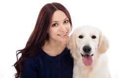 Piękna młoda kobieta z psem Fotografia Royalty Free