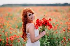 Piękna młoda miedzianowłosa kobieta trzyma bukiet maczki w maczka polu Fotografia Royalty Free