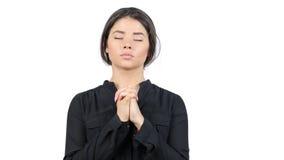 Piękna młoda nastoletnia dziewczyna ono modli się Zamyka w górę portreta żeńskiego modlenia obrazy stock