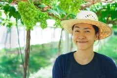 Piękna młoda wschodnia kobieta zbiera czarnych winogrona outdoors w winnicy Zdjęcie Royalty Free