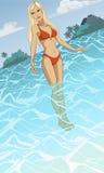Piękna młodej kobiety pozycja w morzu na t Fotografia Royalty Free