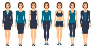 Piękna młodej kobiety pozycja w różnym odziewa, formalny, biznesowy, codzienny, sporty Kobieta w eleganckich i przypadkowych ubra ilustracja wektor