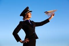Piękna młodej kobiety stewardesa Zdjęcia Stock