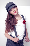 Piękna mała śliczna moda modela popielata odzież Obraz Royalty Free
