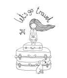 Piękna mała dziewczynka na walizce Obraz Stock