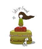 Piękna mała dziewczynka na walizce Zdjęcia Stock