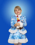 Piękna mała dziewczynka w kostiumu śniegu dziewczynie Obraz Royalty Free
