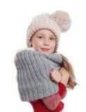 Piękna mała dziewczynka w trykotowych zim akcesoriach Zdjęcia Royalty Free