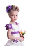 Piękna mała dziewczynka z bukietem Fotografia Stock