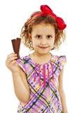 Piękna mała dziewczynka z czekoladą Zdjęcie Royalty Free