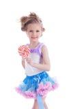 Piękna mała dziewczynka z lizakiem Fotografia Royalty Free